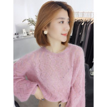 Wool knitwear Autumn 2020 S,M,L Pink Long sleeves singleton  Socket other 51% (inclusive) - 70% (inclusive) Regular routine street easy Low crew neck routine Solid color Socket B193y09033p 35-39 years old bobowaltz Europe and America