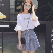 T-shirt White (top) top + skirt M L XL Summer 2017 three quarter sleeve Crew neck easy have cash less than that is registered in the accounts pagoda sleeve commute cotton 51% (inclusive) - 70% (inclusive) 18-24 years old Korean version other Other / other 021o