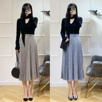 skirt Autumn 2020 32, 34, 36, 38 Khaki, grey blue longuette Retro High waist A-line skirt lattice Type A More than 95% other other