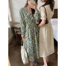 Dress Spring 2021 Ice grey blue S,M,L longuette singleton  Long sleeves commute V-neck Loose waist Decor Socket other routine Others Type A bingdaily Korean version 31% (inclusive) - 50% (inclusive) other