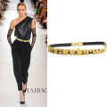 Belt / belt / chain other Yellow, silver female Waistband Versatile a hook letter Glossy surface alloy Naked, letter, elastic