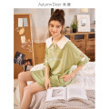Nightdress Autumn deer Rubber powder [38] fruit green [76] M L XL XXL Simplicity Middle sleeve Leisure home Middle-skirt summer Solid color youth V-neck cotton printing More than 95% Knitted cotton fabric QHDK2118D Spring 2020 Cotton 100% Same model in shopping mall (sold online and offline)
