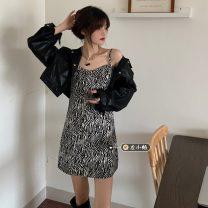 Fashion suit Spring 2021 Average size Black Zebra skirt, gray zebra skirt, black leather, white leather 18-25 years old