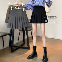 skirt Winter 2020 S,M,L,XL Grey, black, card Short skirt commute High waist Pleated skirt Solid color Type A 18-24 years old fold Korean version
