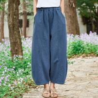 Casual pants Plain white, hemp, navy blue, bean green Average size Spring of 2019 Ninth pants Wide leg pants Natural waist original routine 25-29 years old 81% (inclusive) - 90% (inclusive) hemp pocket hemp