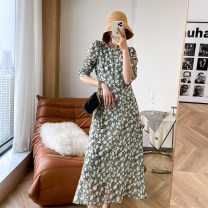 Dress Spring 2021 Grass green S,M,L Mid length dress singleton  Long sleeves Crew neck Socket routine 25-29 years old Type A Q5821