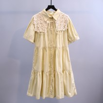 Dress Summer 2021 Green red yellow blue white Average size (collection and purchase, priority delivery) longuette singleton  Short sleeve commute Polo collar High waist Solid color Socket A-line skirt routine Others 18-24 years old Type A Niyan Pavilion Korean version Pleated button lace SHYJS001