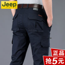 Casual pants Jeep / Jeep Fashion City 29,30,31,32,33,34,35,36,38,40,42 thin trousers Other leisure easy get shot summer middle age Military brigade of tooling 2021 Medium high waist Straight cylinder Cotton 97% polyurethane elastic fiber (spandex) 3% Overalls pocket washing Solid color plain cloth