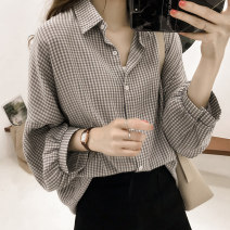 Women's large Autumn 2020 Black, red, blue M. Large L, large XL, 2XL, 3XL, 4XL, limited quantity 33.9 yuan shirt singleton  commute easy moderate Cardigan Long sleeves lattice Korean version Polo collar routine other Three dimensional cutting routine Button 96% and above