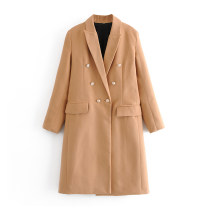 woolen coat Winter 2020 S,M,L Camel wool 95% and above Medium length Long sleeves commute double-breasted routine tailored collar Solid color Straight cylinder Simplicity
