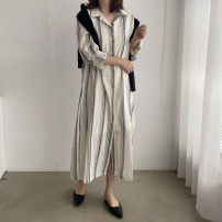 Dress Spring 2021 white Average size Mid length dress singleton  Long sleeves