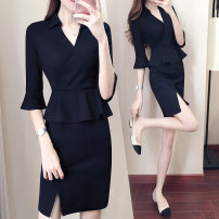 Dress Spring 2020 black S,M,L,XL,2XL,3XL Mid length dress singleton  three quarter sleeve commute V-neck High waist Solid color zipper One pace skirt pagoda sleeve Others 30-34 years old Type X Ol style Panel, zipper 81% (inclusive) - 90% (inclusive) nylon