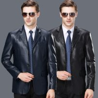 leather clothing Oana  Youth fashion Black, blue 165,170,175,180,185,190 have more cash than can be accounted for Imitation leather clothes tailored collar Single breasted leisure time middle age 81-8887 Pocket decoration