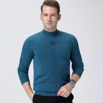 T-shirt / sweater Others Business gentleman 165,170,175,180,185,190 Socket Half high collar Long sleeves winter 2019 Wool 100% leisure time youth Solid color Fine wool (16 and 14 stitches) Pure wool (95% or more) Rib bottom pendulum