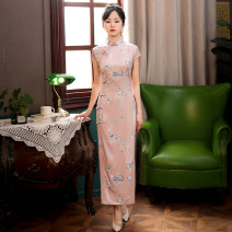 cheongsam Summer 2020 S,M,L,XL,XXL,XXXL Pink Short sleeve long cheongsam Retro High slit daily Oblique lapel Broken flowers 18-25 years old Piping other 96% and above