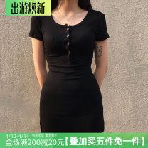 Dress Spring 2021 black S,M,L Short skirt singleton  Short sleeve commute High waist routine Type A Retro 31% (inclusive) - 50% (inclusive) knitting polyester fiber
