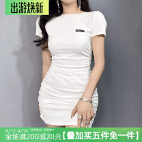 Dress Summer 2021 White, black S,M,L Short skirt singleton  Short sleeve street Crew neck High waist A-line skirt routine 18-24 years old Type A Backless, pleated, strapped, embroidered and printed AMMBD11177 31% (inclusive) - 50% (inclusive) cotton Europe and America