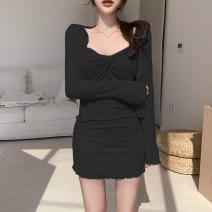 Dress Autumn 2020 black S,M,L Short skirt singleton  street High waist A-line skirt routine Type A AMS4790W0G 51% (inclusive) - 70% (inclusive) cotton Europe and America