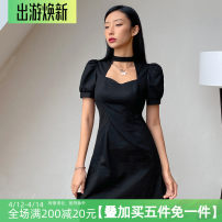 Dress Spring 2021 black S,M,L Short skirt singleton  Short sleeve street High waist A-line skirt puff sleeve Hanging neck style Type A AMMAD10248 51% (inclusive) - 70% (inclusive) polyester fiber Europe and America