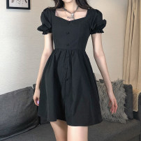 Dress Summer 2021 black S,M,L Short skirt singleton  Short sleeve commute square neck High waist Solid color A-line skirt puff sleeve 18-24 years old Type A Retro Button AMMCD12571 31% (inclusive) - 50% (inclusive) other cotton