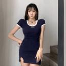 Dress Spring 2021 blue S,M,L Short skirt singleton  Short sleeve street Crew neck High waist A-line skirt routine Type A HSD2351W0E 31% (inclusive) - 50% (inclusive) cotton Europe and America
