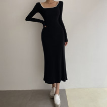 Dress Autumn 2020 black S,M,L Mid length dress singleton  Long sleeves street square neck High waist Solid color Socket One pace skirt routine Others 18-24 years old Type H AMD8873W0J 51% (inclusive) - 70% (inclusive) polyester fiber Europe and America