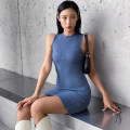 Dress Spring 2021 blue S,M,L Short skirt singleton  Sleeveless commute High waist A-line skirt Type A Retro AMMAD12080 31% (inclusive) - 50% (inclusive) polyester fiber