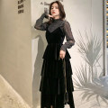 Dress Spring 2020 Black [two piece set] S,M,L,XL,2XL longuette Two piece set Long sleeves commute V-neck High waist Solid color Socket Cake skirt bishop sleeve camisole Type A Retro