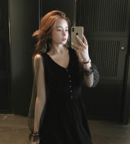 Dress Winter 2020 black S,M,L Mid length dress singleton  Long sleeves commute V-neck High waist Solid color Socket A-line skirt Type A Korean version Mesh, stitching other