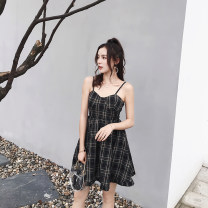 Dress Summer of 2019 Yellow grid, black grid S,M,L,XL Short skirt singleton  Sleeveless commute V-neck High waist lattice Socket A-line skirt camisole 18-24 years old Type A Korean version backless hemp