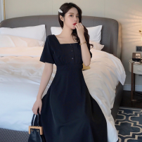 Dress Summer of 2019 black S,M,L,XL,2XL Mid length dress singleton  Short sleeve commute square neck High waist Solid color zipper Big swing routine Others Type A Retro Button
