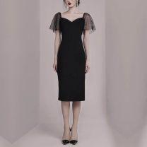 Dress Summer of 2019 black S,M,L,XL Mid length dress singleton  Short sleeve commute V-neck High waist zipper Others Korean version