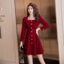 Dress Autumn 2020 Red, black S,M,L,XL Short skirt singleton  Long sleeves commute square neck High waist Solid color Single breasted A-line skirt routine Others Type A Korean version Button other