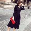 Dress Autumn of 2019 black S,M,L,XL,2XL longuette singleton  Nine point sleeve commute V-neck High waist Solid color Socket Big swing other Hanging neck style 25-29 years old Type A Retro