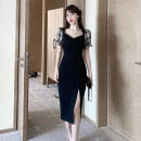 Dress Summer 2021 black S,M,L,XL Mid length dress singleton  Short sleeve commute other High waist Solid color zipper A-line skirt puff sleeve Others Type A Retro Bowknot, open back, lace up, stitching