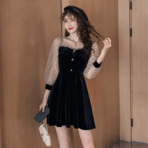 Dress Autumn 2020 black S,M,L,XL,2XL Short skirt singleton  Long sleeves commute square neck High waist Solid color zipper A-line skirt bishop sleeve Others 18-24 years old Type A Korean version Button, mesh, stitching