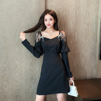Dress Autumn 2020 black S,M,L,XL Middle-skirt singleton  Long sleeves commute square neck High waist Solid color Socket A-line skirt routine Others Type A Retro Bowknot, stitching, mesh