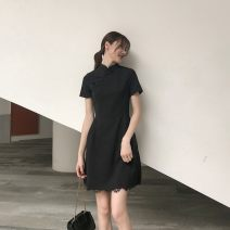 Dress Summer 2020 black S,M,L,XL Short skirt singleton  Short sleeve commute stand collar High waist Solid color zipper A-line skirt other Others 18-24 years old Type A Retro Splicing