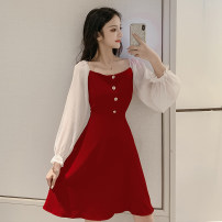 Dress Winter of 2019 Red, black S,M,L,XL Middle-skirt singleton  Long sleeves commute square neck High waist Solid color Socket A-line skirt pagoda sleeve Others 18-24 years old Type A Korean version Button, button