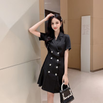 Dress Summer of 2019 black S,M,L,XL Mid length dress singleton  Short sleeve commute V-neck High waist Solid color Single breasted A-line skirt other Others Type A Korean version Button, button