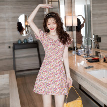 Dress Summer 2020 Picture color S,M,L,XL Short skirt singleton  Short sleeve commute square neck High waist Decor zipper A-line skirt puff sleeve Others Type A Korean version