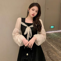 Dress Winter 2020 black S,M,L,XL Short skirt singleton  Long sleeves commute square neck High waist Solid color Socket A-line skirt puff sleeve Others Type A Stitching, lacing