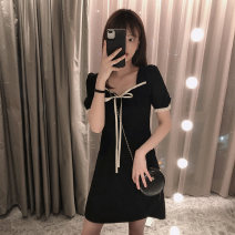 Dress Summer 2020 black S,M,L,XL Short skirt singleton  Short sleeve commute square neck High waist Solid color Socket A-line skirt puff sleeve Others Type A Korean version Bowknot, stitching