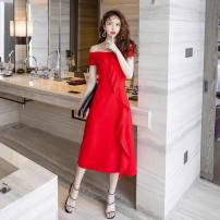 Dress Summer 2020 Red, black S,M,L,XL Mid length dress singleton  Sleeveless commute One word collar High waist Solid color Socket A-line skirt Others Type A Korean version Lotus leaf edge