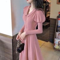 Dress Autumn 2020 Off white, pink S,M,L,XL Mid length dress singleton  Long sleeves commute Polo collar High waist Solid color Socket A-line skirt routine Others Type A Korean version