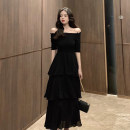 Dress Summer of 2019 Black, white, red S,M,L,XL longuette singleton  Short sleeve commute One word collar High waist Solid color Socket Cake skirt routine Others Type A Korean version Fold, splice