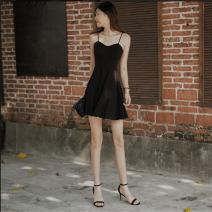 Dress Summer 2020 black S,M,L,XL Short skirt singleton  Sleeveless commute V-neck High waist Solid color Socket A-line skirt other camisole Type X Retro
