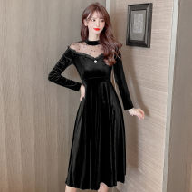 Dress Autumn 2020 black S,M,L,XL,2XL Mid length dress singleton  Long sleeves commute Crew neck High waist Solid color Socket A-line skirt routine Others Type A Korean version Flounce, hollowed out, stitched, nailed bead, gauze net other