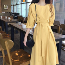 Dress Summer 2020 Yellow, apricot, purple S,M,L,XL longuette singleton  elbow sleeve commute Crew neck High waist Solid color Socket Big swing other Type A Korean version