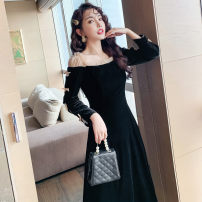 Dress Autumn 2020 Black velvet, black Roman fabric S,M,L,XL Mid length dress singleton  Long sleeves commute One word collar High waist Solid color Socket A-line skirt other Others Type A Retro Bowknot, stitching, mesh